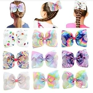 Other - Girls 9 Piece Large Hair Bow with Alligator Clip